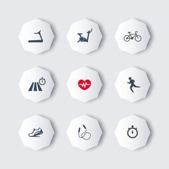 Cardio Training octagon modern icons, vector illustration, eps10, easy to edit