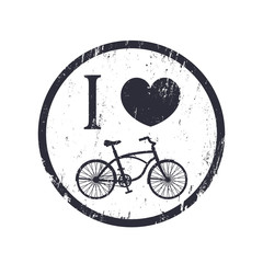 I love cycling grunge sign, vector illustration, eps10