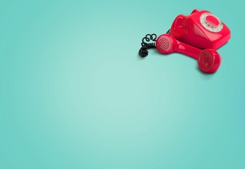 Telephone, Red, Old.