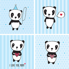 I love you, mom! Greeting cards for Mother's Day, Valentine's Day, birthday with pandas and hearts. Blue background. Hand drawn pandas for your design. Doodles, sketch. Vector illustration.