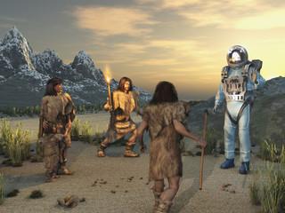 Encuentro entre antiguos humanos y un extraterrestre  Wall mural