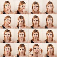 Woman multiple expression image.