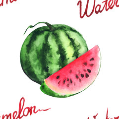 Watercolor green stripe watermelon and red slice vector seamless pattern isolated