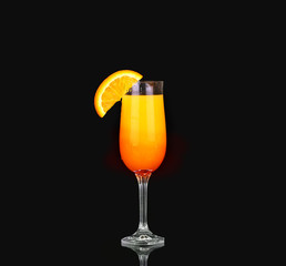 Mimosa cocktail glass  on black. design element
