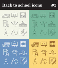 Back to school theme vector thin line icons