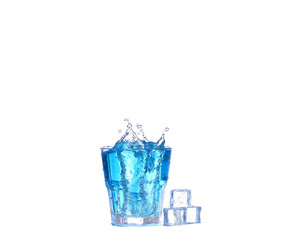 blue cocktail with ice and  splash on white