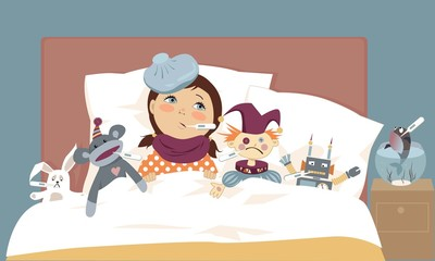 Cute little girl lying in bed with her toys, all have thermometers in their mouth, vector illustration, EPS 8