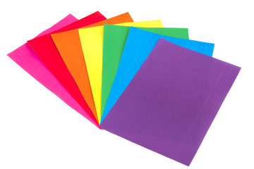 colored paper on a white background