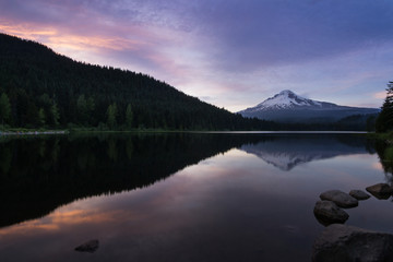 Sunset on Mt Hood at Trillium Lake, Oregon