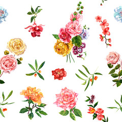 Bright watercolour roses, leaves and berries seamless pattern