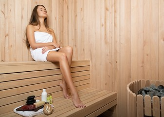 Sauna, Women, Wood Panelling.