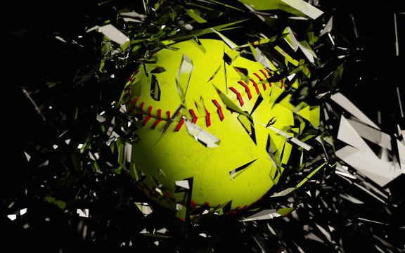 a 3d render of a softball breaking glass against a black background.
