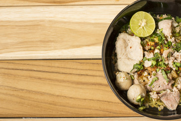 Delicious rice noodles with close-up