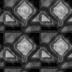 Abstract seamless black and white retro pattern with contour lines