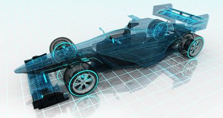 formula car technology wireframe sketch upper front view
