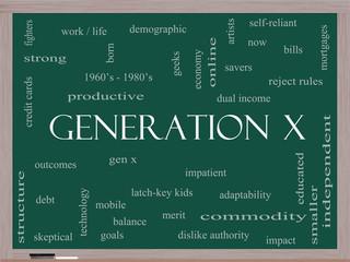 Generation X Word Cloud Concept on a Blackboard