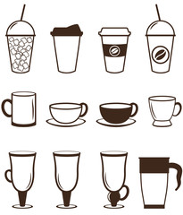 Coffee icons set. Buttons for web and apps. Vector illustration