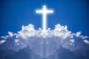 White cross in the heavens is a mixture of a cloud photograph and an illustrated cross.