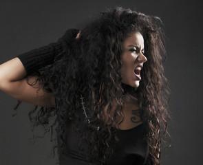 Angry rocker girl screaming