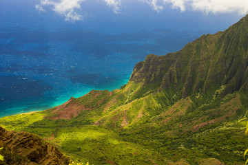 View on Na Pali Coast on Kauai island on Hawaii