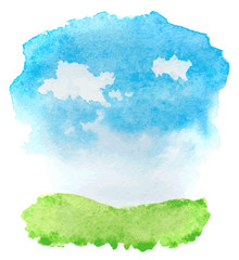 abstract watercolor landscape with grass and clouds. vector