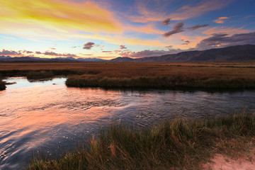 Sunset over the Owens River near Mammoth Lakes, CA