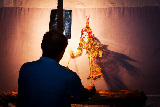Traditional south of Thailand Shadow Puppet Show,Nakhonsitammarat
