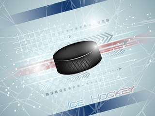 Hockey puck on the ice with graphic elements and shine, sport vector illustration