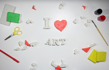 I love art sign of clay