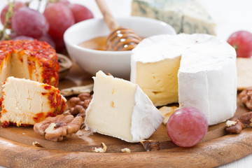 cheeses and snacks on a board, close-up