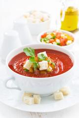 fresh gazpacho in a white bowl, vertical, close-up