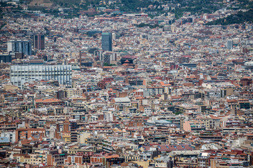Aerial view from Jew Mountain - Montjuic hill in Barcelona, Spain