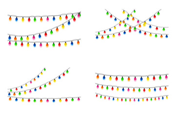 Set of Christmas lights on white background