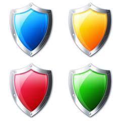 Kolorowe ikony tarcz bezpieczeństwa - fototapety na wymiar