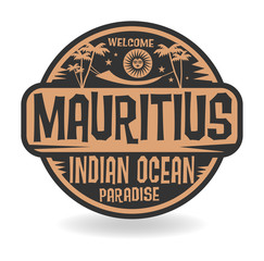 Stamp or label with the name of Mauritius, Indian Ocean