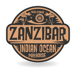 Stamp or label with the name of Zanzibar, Indian Ocean