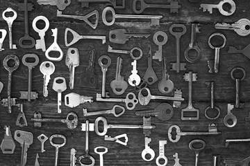 Keys locks wooden background