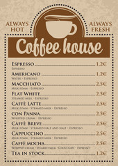 set of prices for coffee cups with a coffe house