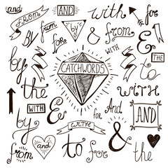 Vector hand-lettered, hand drawn ampersands and catchwords