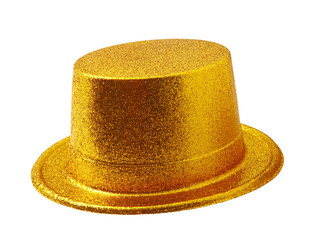 Yellow party hat isolated on white with clipping path.