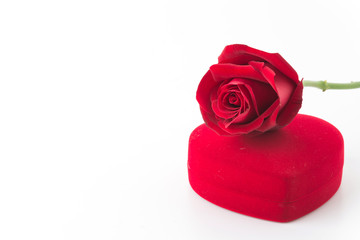 red rose and necklace box isolated on white background