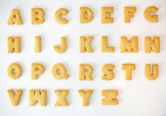 Cracker alphabet A-Z isolated on over white background