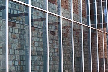 building glass reflection street
