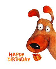 Dog from corner with present. Happy birthday. Watercolor