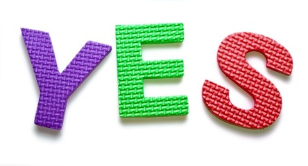 Word YES isolated on the white background