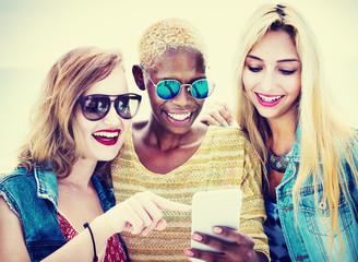 Diverse Summer Friends Fun Bonding Smart Phone Concept