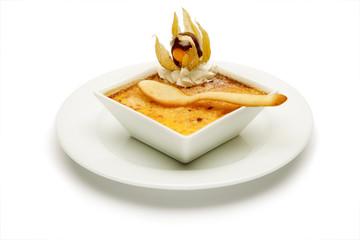 Creme brûlée, Creme brulee isolated on white