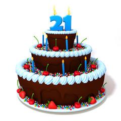 Birthday cake with number twenty one