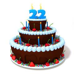 Birthday cake with number twenty two