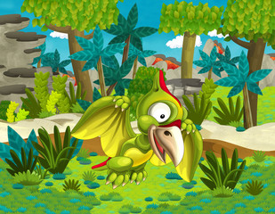 Cartoon pterodactyl,- illustration for the children